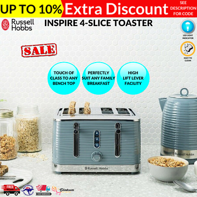 AU98.95 • Buy Russell Hobbs Large Slot 4 Slice Toaster High Lift Defrost Reheat Blue LED GREY