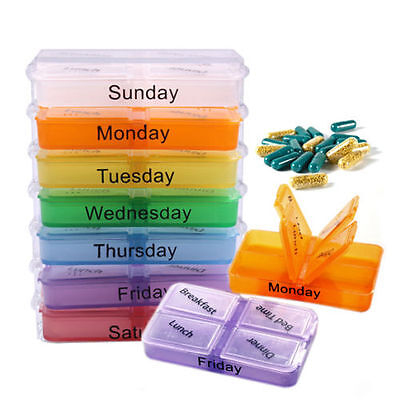 7 Day (Weekly) Large Multi-Colour*Pill Box -28 Compartment With Removable-TraI6M • 6.79£
