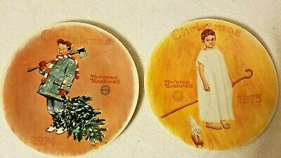 $ CDN42.46 • Buy TWO Vintage NORMAN ROCKWELL Christmas Plates  Angel With A Black Eye  &  Scotty