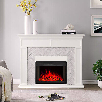 28 Inch Electric Fireplace Led Digital Flames Wall Inserted Room Heater Stove Uk • 151.14£