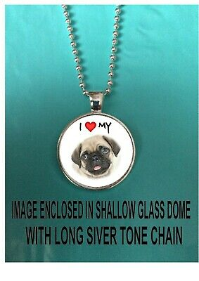 £6 • Buy Pug Dog Necklace Pendant Long Length Chain Fans Gift Necklace Pendent