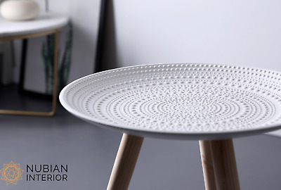 AU46.50 • Buy NEW Boho Round White Side Table, Coffee Table, Living Room End Tables, Besides