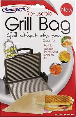 Reusable Grill Bag Paninis Toasted Sandwiches Chicken Fish  Sealapack No Mess • 1.99£