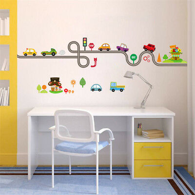 Car Bus Highway Track Wall Stickers For Children's Room Decor Wall Art Decals P5 • 4.18£