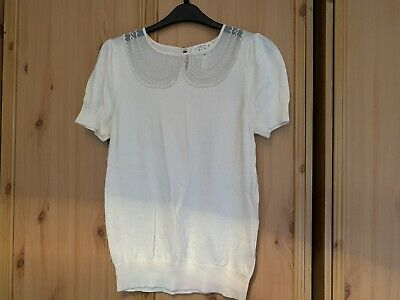 Next Cream Top With Lace Collar Size 12 • 7.50£