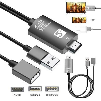 USB Female To HDMI Cable HD TV Converter Adapter Cable For IPhone Samsung Huawei • 13.95£