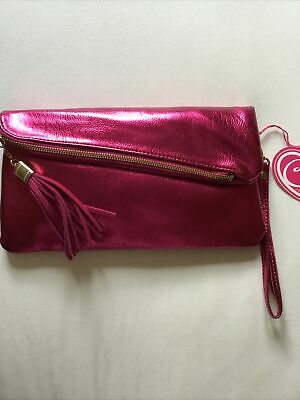 Ladies Fuchsia (metallic Pink) Claudia Canova Clutch Bag New With Tags • 7.99£