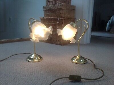 Pair Vintage Brass & Glass Bedside Table Lamps Curved Swan Neck • 24.95£