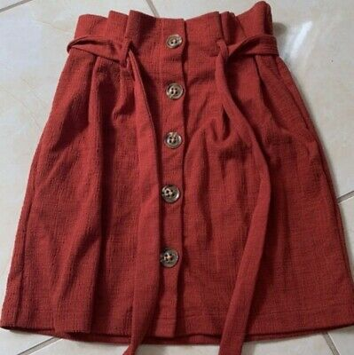 Rust Red Paper Bag Winter Knit Skirt Size 4-6 W26 • 6.50£