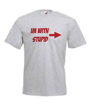 IM WITH STUPID FUNNY GE Mens Women Funny T-Shirt Birthday Christmas Gift • 9.99£