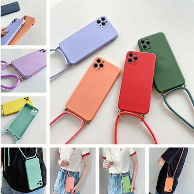 For IPhone 11 12 Pro Max XR XS X 8 7 Liquid Silicone Square Case Cover + Lanyard • 3.19£