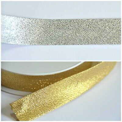 Pre-Folded Bias Binding Tape - 20mm Wide Sparkly Silver Gold Metre - Polyester • 3£