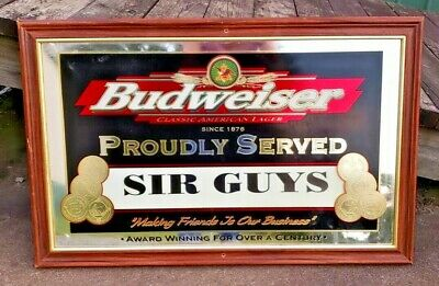 "$ CDN96.03 • Buy BUDWEISER ""PROUDLY SERVED"" MIRROR BEER SIGN 21X33.5  Sir Guys Rehoboth Beach"