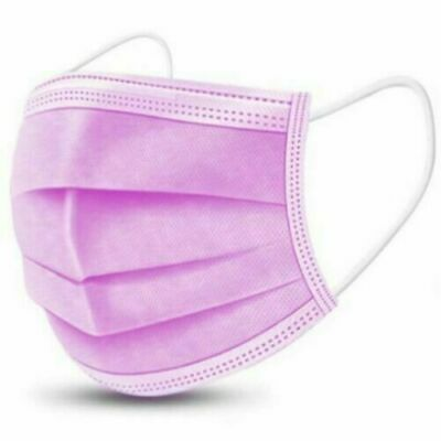 £5.98 • Buy 1/10/20/30/50 3 Ply Pink Disposable Face Masks Non-medical Surgical Mask