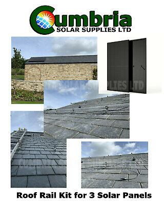 Off Grid Solar Panel Mounting Rail Bracket Slate Roof With 3x350w Solar Panels • 899.99£