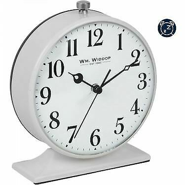 Grey Round Retro Alarm Clock Arabic Numerals Battery Operated Bedside Analogue • 13.75£