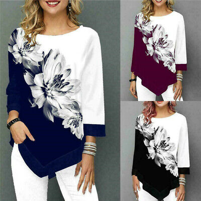 Womens Long Sleeve Floral Tops Ladies Irregular Casual Loose T-Shirt Blouse Tee • 9.99£
