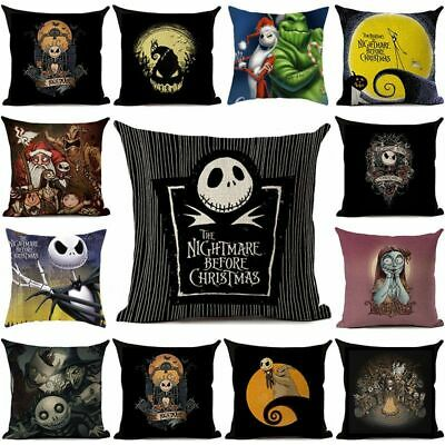 Nightmare Before Christmas Cushion Cover Pillow Case Flax Sofa Xmas Home Decor • 2.95£