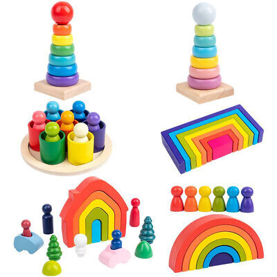 Wooden Rainbow Building Stacking Blocks Baby Toddler Educational Montessori Toy • 7.89£