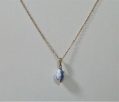 Wedgwood Blue Jasper Pendant Necklace Bead Gold On Sterling Silver Boxed • 63.99£