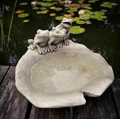 Frogs On Lily Statue   Reconstituted Stone Bird Bath Concrete Garden Ornament • 32.99£
