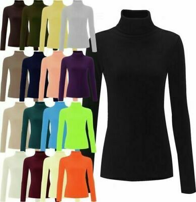 £3.95 • Buy Womens Ladies High Roll Polo Neck Knitted Ribbed Jumper Sweater Top UK