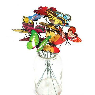 50Pcs Outdoor Colorful Butterflies On Sticks Butterfly Stakes Garden Ornaments • 4.97£