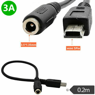 20cm DC Power Jack Female 3.5x1.35mm To USB Mini 5Pin Male 3A 22AWG Copper Cable • 3.50£