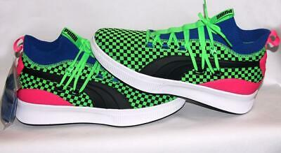 Puma Clyde SUMMERTIME Court Green Black Pink Checkered Sock Top Shoes Mn's 11 • 54.26£