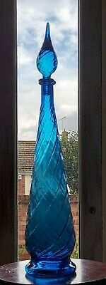 Stunning Vintage Tall Blue Glass Chemist's / Genie Bottle 1960s Italian 66cm • 49£