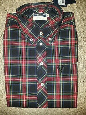 Fred Perry Reissues Plaid Tartan Short Sleeve Ladies Shirt Mod Skin Girl New 12 • 50£