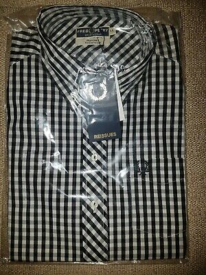 Fred Perry Reissues Check Gingham Short Sleeve Ladies Shirt Mod Skin Girl New 14 • 50£
