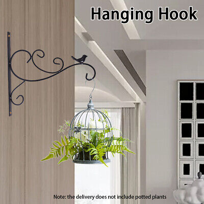 Hanging Plant Bracket Indoor Outdoor For Flower Pots Fence Retro Iron Wall Hooks • 10.38£