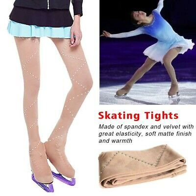 Girls Ice Figure Over Boot Skating Tights With Crystal Universal Footless • 18.52£