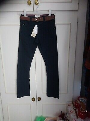 Boys New Navy Jasper Conran Twisted Chinos With Contrast Belt Age 9 • 14£