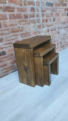 Nest Of Tables/ Bedside Tables/Side Table/Rustic Handmade Solid Pine Wood • 74.99£