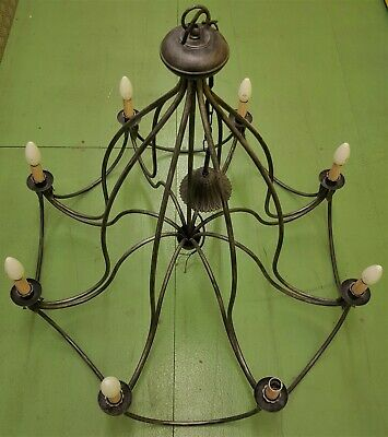 Large Black Wrought Iron Effect 8 Arm Metal Chandelier  • 175£