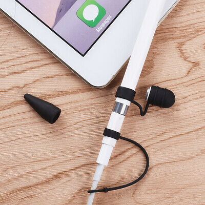 Anti-Lost Cap Holder + Nib Cover + Cable Tether For IPad Pro Pencil Black • 4.07£