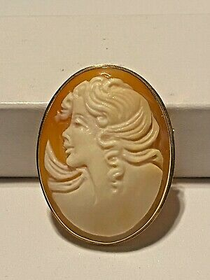 $129 • Buy Authentic M+M Scognamiglio Hand-carved Cameo Pendent/Pin - 14K REDUCED