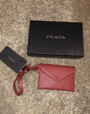 Authentic Prada Small Wallet Cardholder Envelope Keychain Pouch Leather Red • 120£