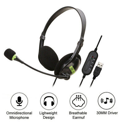 USB Stereo Headphones With Microphone Noise Cancelling Headset For Skype Laptop • 6.79£