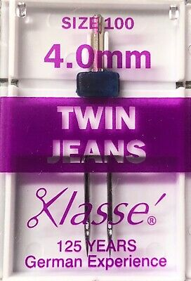 Klasse Twin Jeans Sewing Machine Needles Size 100 With 4.0 Mm Gap Pack Of 1 • 2.45£
