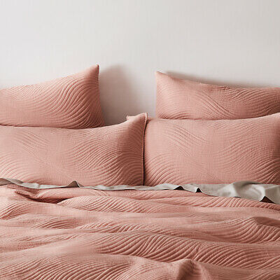 AU80 • Buy Home Republic Ripple Quilted Dusty Pink Quilt Cover - Queen