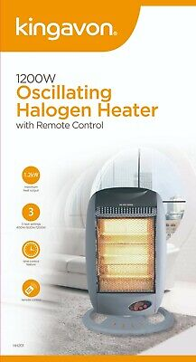 £29.99 • Buy 1200W Oscillating Halogen Heater With Remote Control Electric White Portable