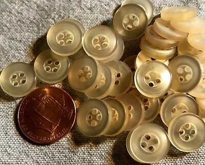 $4.49 • Buy 24 Pearlized Beige Plastic Sew-through Shirt Buttons Almost 1/2  12mm # 4726
