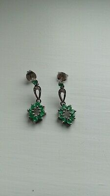 925 Silver Emerald And Diamond Drop Earrings. Lovely Condition! • 20£