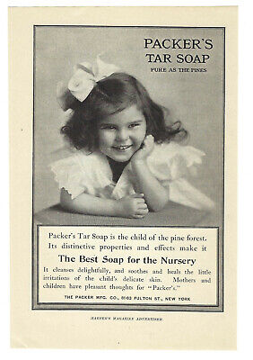 Packer's Tar Soap Pure As Pines Vintage Mag Print Ad 1906 • 8.72£