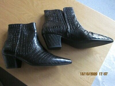 £30 • Buy Anthropologie Ankle Boots Black Mock Croc Size 7 New