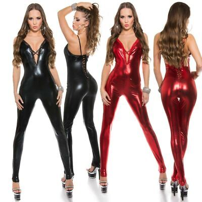 Wet Look Catsuit Lace Up Back Jumpsuit In Leather Look KouCla - Red & Black • 34.95£