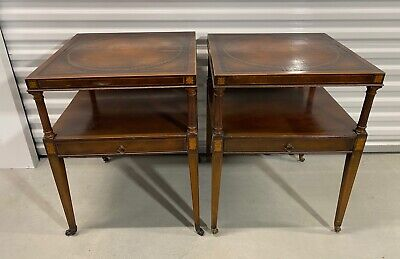 """$279.99 • Buy Antique Weiman """"HEIRLOOM"""" Mahogany End Tables W/inlaid & Leather Tops"""